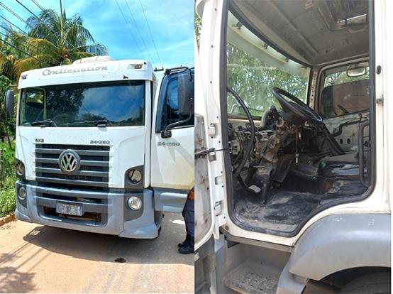 PMES e PC encontram 2 caminhões roubados em Cachoeiro