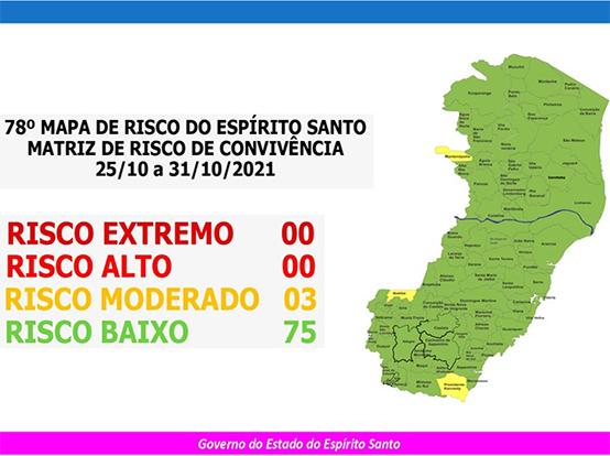 Confira o 78º Mapa de Risco divulgado pelo Governo do Estado